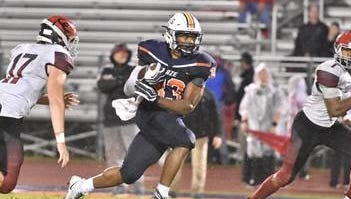 Blackman's Master Teague finds running room against Coffee County on Friday, Sept. 1, 2017.