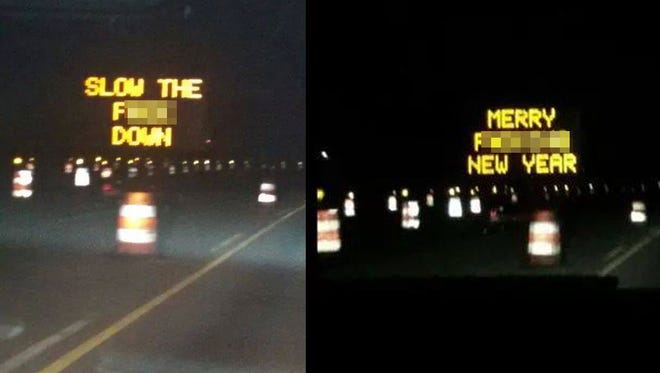 Hackers put profane messages on INDOT signboards on Ind. 37 near Martinsville.