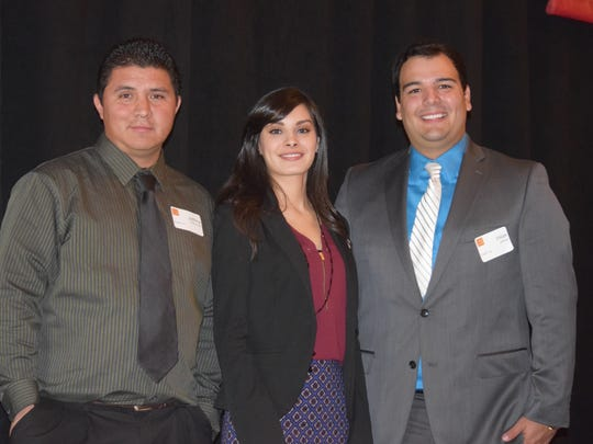 College of the Desert students, from left, Jeffrey Contreras, Lucy Gomez and Dilan Jahries shared stories of struggles - and successes - on their educational journeys during the COD Foundation Academic Angels Citizens of Distinction awards luncheon on Thursday, Dec. 10, 2015 at the Renaissance Indian Wells Resort & Spa.