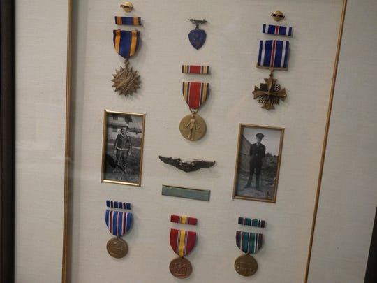 MIlitary decorations earned by Howard Games, a World War II pilot who served in the 387th Bombardment Group, 558th Bombardment Squadron.