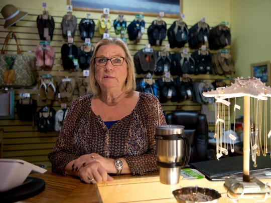 """Geni Pippins, owner of the Sandal Shack in downtown Stuart, said Tuesday, Jan. 31, 2017, that Stuart Mayor Eula Clarke should resign after she used the derogatory term """"pig"""" in the presence of a police officer at a local grocery store earlier in the month."""