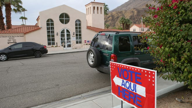 Voting is underway at polling stations including the one at St. Pauls in the Desert in Palm Springs, November 7, 2017.