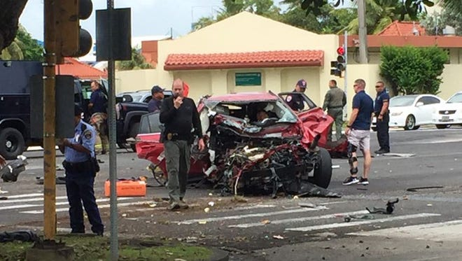 One person was taken to the hospital after an auto crash on Route 1 in Hagåtña near the boat basin on Tuesday Dec. 5, 2017, according to the Guam Fire Department.