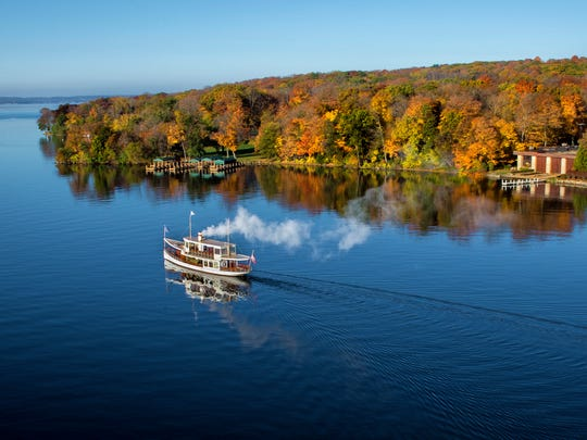 The Lake Geneva Cruise Line's Steam Yacht Louise is one of eight Gage Marine Boats offering public and charter tours on Lake Geneva.