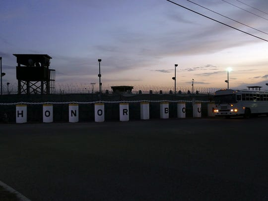 Camp Delta -- no detainees at this camp -- during a media tour at the U.S. Navy base at Guantanamo Bay, Cuba, on February 10, 2016, in this photo approved for release by the U.S. military.