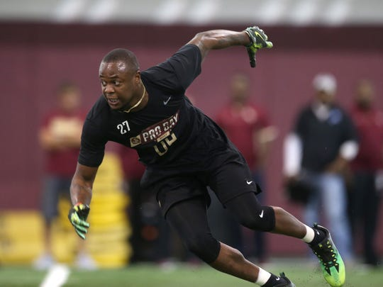 Marquez White performs for NFL personal during FSU's Pro Day at the Al Dunlap Facility on Tuesday afternoon.