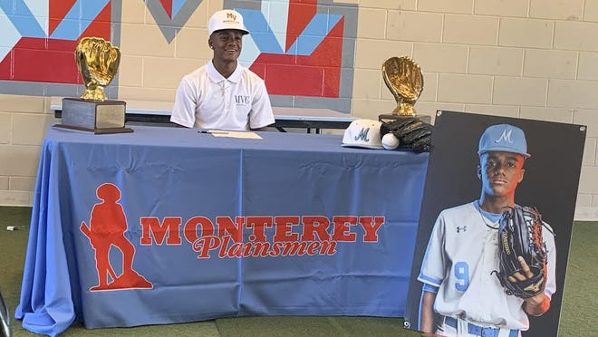 Monterey outfielder/pitcher Dallan Quigley signed his national letter of intent to play baseball for Mountain View  College on Tuesday at Moegle Field.
