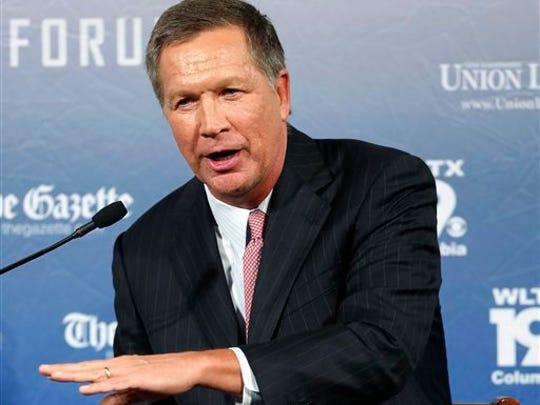 FILE - In this Aug. 3, 2015 file photo, Republican presidential candidate, Ohio Gov. John Kasich speaks in Manchester, N.H. Kasich's recent poll results earned him a place in the first prime time Republican presidential debate, Thursday.