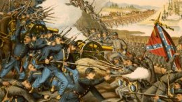 The printing company of Kurz and Allison produced several fanciful, but colorful depictions of Civil War battles in the latter half of the 19th century, including this detail from its image of the battle of Franklin, Tennessee. Among the combatants was Pvt. John D. Sisson, a youthful rifleman in the 51st Ohio Volunteer Infantry.