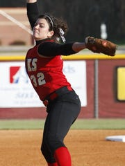 Former Rossview softball star Courtney Elrod throws against Northeast during during a district game in 2009. Elrod will be the new head softball coach for Rossview when play begins in the spring of 2018.