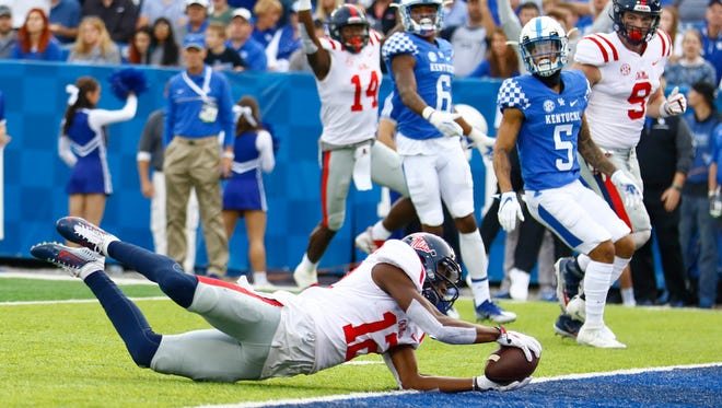 Ole Miss receiver Van Jefferson dives for a touchdown against Kentucky.