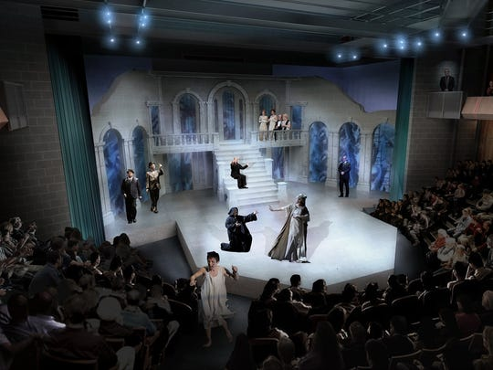 The theater plans include a balcony.