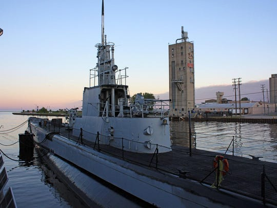 The USS Cobia is docked at the Wisconsin Maritime Museum in Manitowoc. The museum is celebrating the 75th anniversary of the sub's commissioning on Friday.