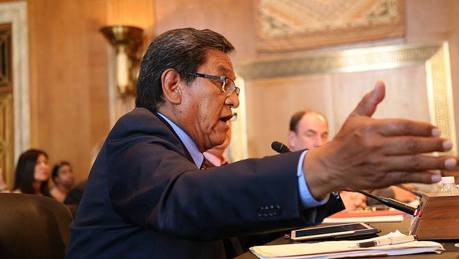 Navajo Nation President Russell Begaye testifies on Sept. 16 before the Senate Committee on Indian Affairs. Begaye has signed a resolution requiring the tribe's chief justice to have a law degree.