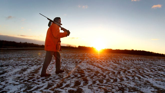 APA deer hunter crosses a frozen cornfield at sunrise on opening day of the 2013 gun season near Shiocton. Cold weather forced some hunters to cut their outings short and led to a slightly weaker harvest than 2012.