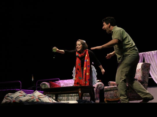 """Rachel Eve Holmes play Laeticia and Will Berman plays Bob in St. George Opera's production of """"The Old Maid and the Thief"""" by Gian Carlo Menotti."""