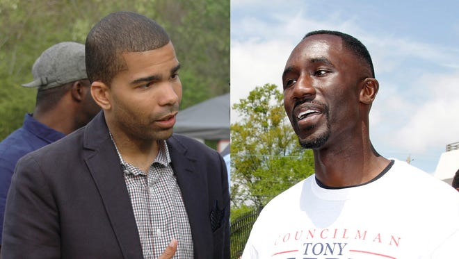 Chokwe Antar Lumumba (left) meets with voters Sunday and Tony Yarber (right) greets people at his fish fry Saturday.