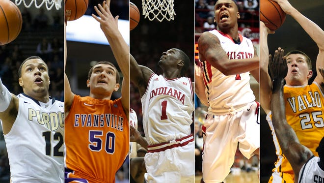 Some Indiana college basketball impact freshmen: (from left) Bryson Scott, Purdue; Blake Simmons, Evansville; Noah Vonleh, Indiana; Zavier Turner, Ball State; Alec Peters, Valparaiso