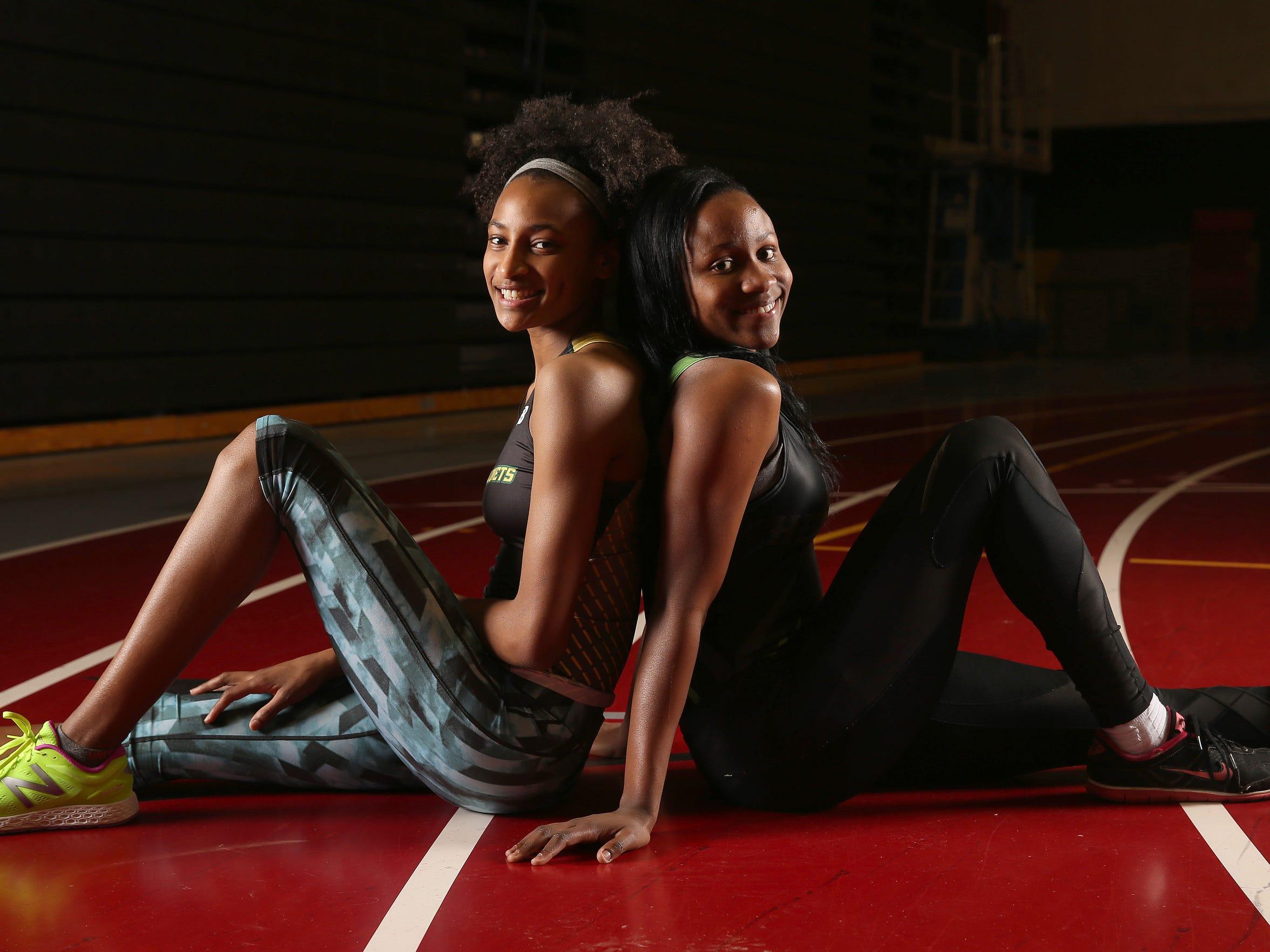 Rush Henrietta's Lanae-Tava Thomas (right) and teammate Sammy Watson .