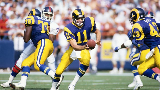 Oct 18, 1992; Anaheim, CA, USA; FILE PHOTO; Los Angeles Rams quarterback Jim Everett (11), running back Cleveland Gary (43) and offensive tackle Jackie Slater (78) in action against the New York Giants at Anaheim Stadium. Mandatory Credit: Peter Brouillet- USA TODAY NETWORK