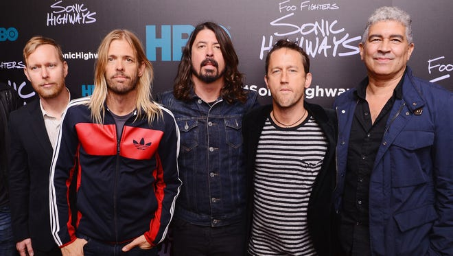 Foo Fighters (from left, Nate Mendel, Taylor Hawkins, Dave Grohl, Chris Shiflett, and Pat Smear) will perform on Aug. 27 at Klipsch Music Center.
