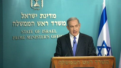 Israeli Prime Minister Benjamin Netanyahu speaks during a press conference at his Jerusalem office on Tuesday, July 14, 2015. The nuclear deal with Iran could strike a heavy personal blow to Netanyahu, leaving him at odds with the international community and with few options for scuttling an agreement he has spent years trying to prevent. (AP Photo/Oren Ben Hakoon)