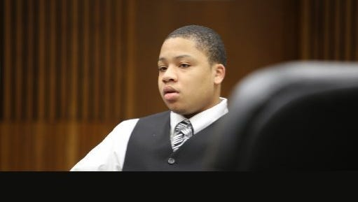 Dionte Travis, accused in the killing of French street artist Bilal Berreni in 2013, is shown during his trial in Wayne County Circuit Court  in Detroit Thursday, Sept. 10, 2015. He was sentenced Sept. 30 to serve 16 to 40 years in prison for armed robbery.