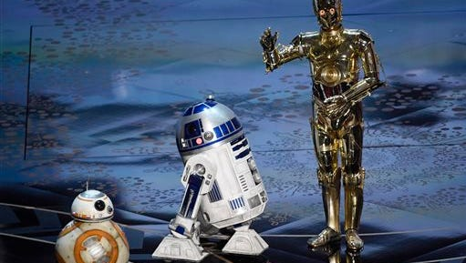 """Droid characters from """"Star Wars"""", BB-8, from left, R2-D2 and C-3PO speak at the Oscars on Sunday, Feb. 28, 2016, at the Dolby Theatre in Los Angeles."""