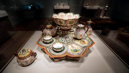 """In a photo from Nov. 16, 2016 a Tea and Coffee Service, 1842-43 is displayed at the Detroit Institute of Arts in Detroit. The """"Bitter