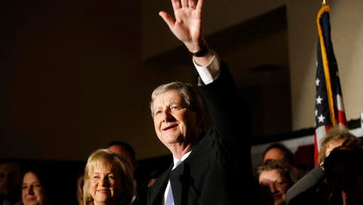 Louisiana state treasurer John Kennedy addresses supporters at his election watch party after being elected to the U.S. Senate seat vacated by Sen. David Vitter, R-La., in Baton Rouge, La., Saturday, Dec. 10, 2016.