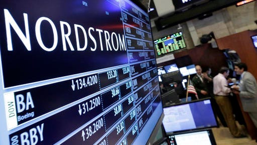 "FILE - In this May 13, 2016 file photo, the Nordstrom logo is displayed above the post where it trades on the floor of the New York Stock Exchange in New York. Nordstrom shares sunk after President Trump tweeted that the department store chain had treated his daughter Ivanka ""so unfairly"" when it announced last week that it would stop selling Ivanka Trump's clothing and accessory line."