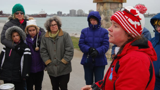KIrsten Lyons talks about Earth Day during an event Friday at the Blue Water River Walk