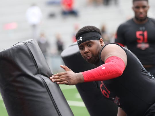 Lakota West's Tyler Bentley competes during the Under Armor  All-America Camp Series at Elder High School, Saturday, April 29.
