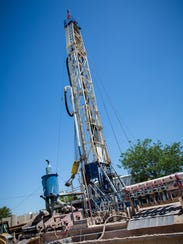 A drill is erected as part of a City of Las Cruces