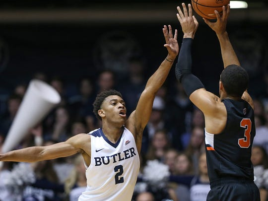 Butler Bulldogs guard Aaron Thompson (2) jumps up in