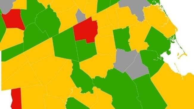 A view of the Brockton area with the new COVID-19 risk measurement system used by the Massachusetts Department of Public Health.