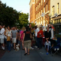 A crowd gathers for 3rd Friday on a summer evening in 2015.