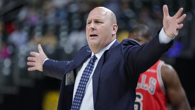 Chicago Bulls coach Jim Boylen questions a call during the first half of the team's preseason game against the Indiana Pacers in Indianapolis, Friday, Oct. 11, 2019.