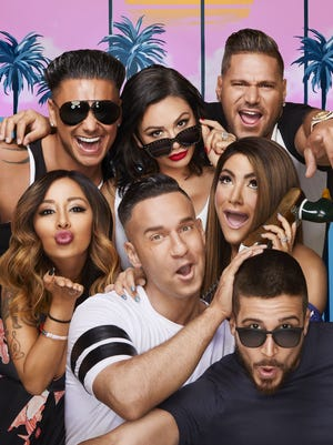 """Clockwise, from left: Pauly D, JWoww, Ronnie, Deena, Vinny, The Situation and Snooki reunite for MTV's """"Jersey Shore Family Vacation."""""""