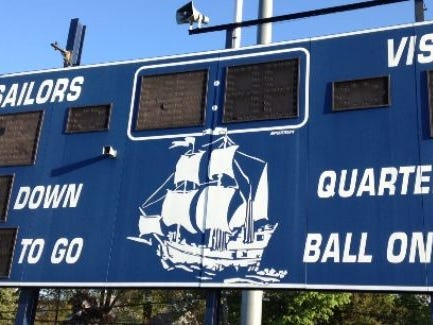 The scoreboard at Hen Hud High School.