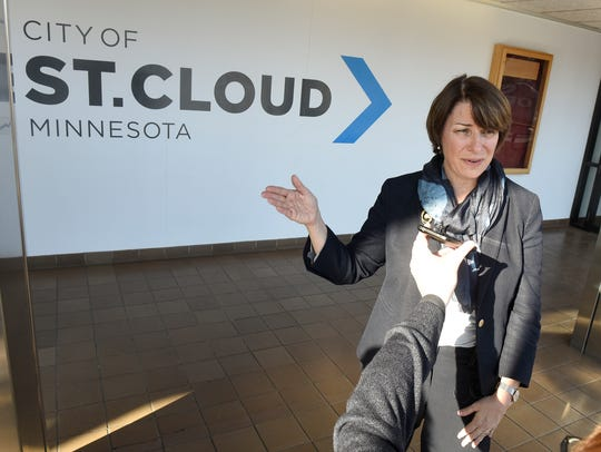 Sen. Amy Klobuchar speaks following a meeting with