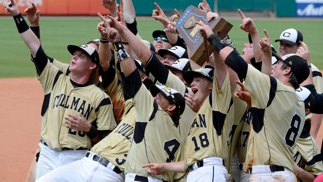 Cullman players salute their fans after winning the AHSAA Class 6A baseball championship at Riverwalk Stadium on Saturday.