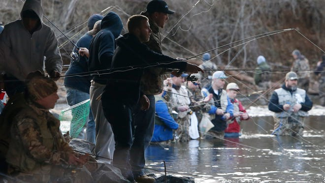 Anglers in and around the White Clay Creek at the bridge on Hopkins Road cast their lines in the first minutes of the first day of trout season in New Castle County. Six streams have been stocked with rainbow and brown trout and will be replenished through April 30.