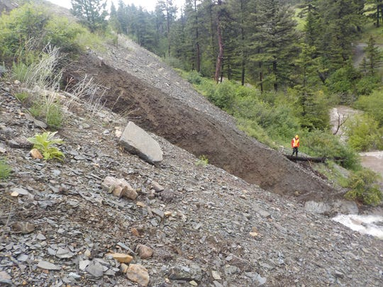 Montana Highway 200 was closed from Bowmans Corner to just east of Lincoln after water erosion caused part of the road to fall 20 feet.
