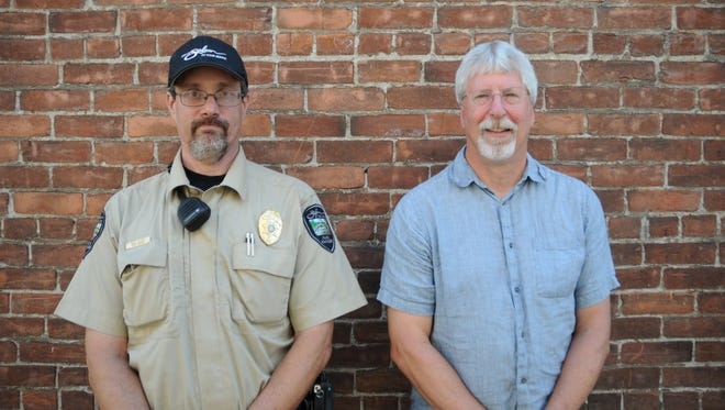City of Salem Park Ranger Mike Zieker and Jon Yoder of Salem Environmental Education at the Statesman Journal's Holding Court at the Court Street Dairy Lunch in downtown Salem on Tuesday, June 20, 2017.