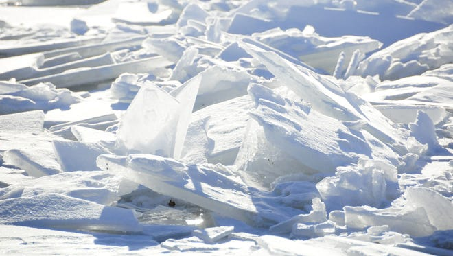 Large ice shards jam the St. Clair River near Marine City.
