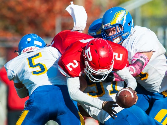 Paulsboro quarterback Kyle Jones stretches but comes up just short of a first down during the first half of Saturday's S.J. Group 1 semifinal against Pennsville.