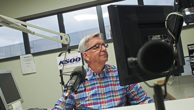 """Rick Knobe, host of KSOO Radio's """"Viewpoint University"""" and former mayor of Sioux Falls, prepares for his show Wednesday, March 29, 2017, in Sioux Falls. Knobe's last show is this Friday."""