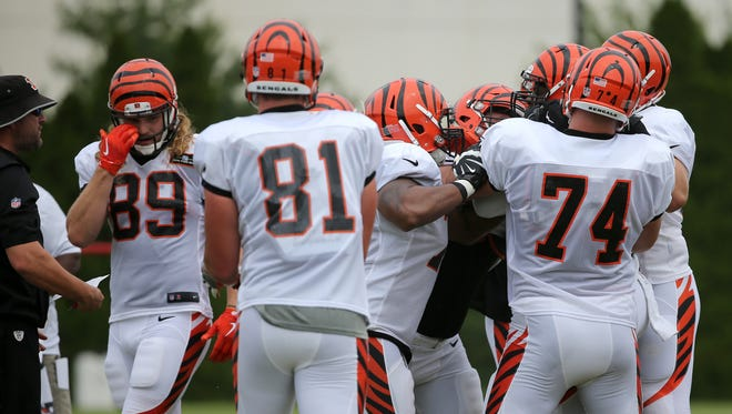 The offensive line separates Cincinnati Bengals outside linebacker Vontaze Burfict (55) and running backs coach Kyle Caskey, far left, after a low tackle on Cincinnati Bengals running back Giovani Bernard (25) (not pictured) during Cincinnati Bengals training camp practice, Tuesday, Aug. 1, 2017, on the practice fields next to Paul Brown Stadium in Cincinnati.