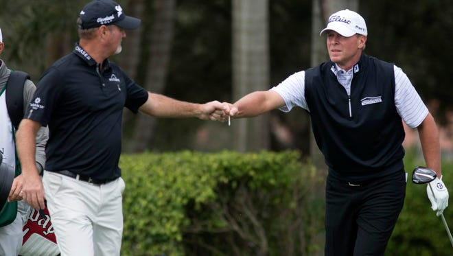 Jerry Kelly (left) is No. 3 on the Champions tour money list while Steve Stricker (right) is No. 4.